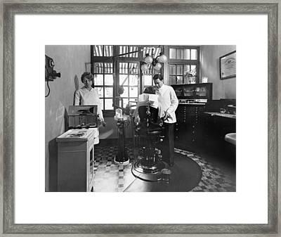 Dentist Office At Sanatarium Framed Print by Underwood Archives