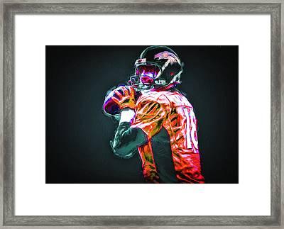 Denver Broncos Peyton Mannin Painted Digitally Mix 2 Framed Print by David Haskett