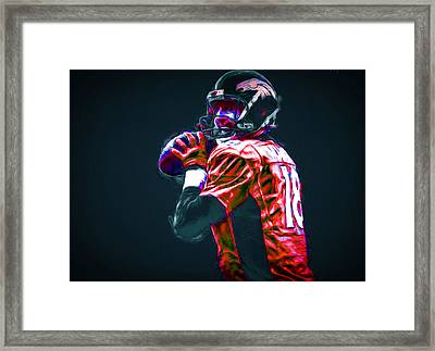 Denver Broncos Peyton Manning Digitally Painted Framed Print by David Haskett
