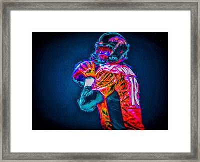 Denver Broncos Peyton Manning Digitally Painted Mix 3 Framed Print by David Haskett