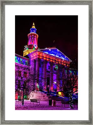 Denver City And County Building Happy Holidays Framed Print by Teri Virbickis