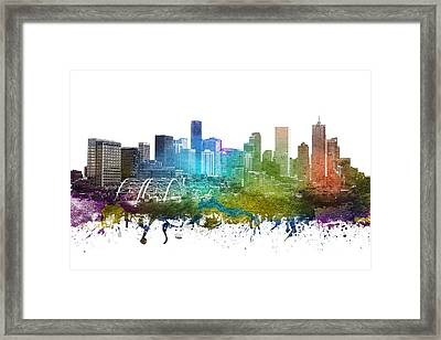 Denver Cityscape 01 Framed Print by Aged Pixel