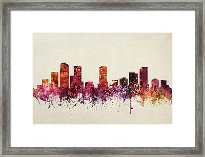 Denver Cityscape 09 Framed Print by Aged Pixel