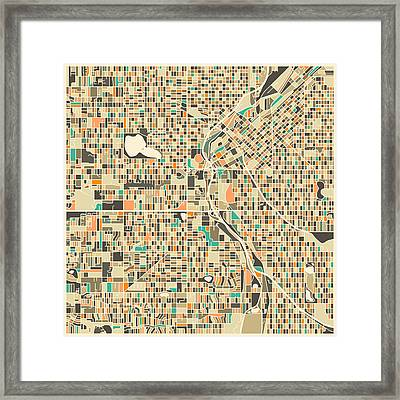 Denver Map Framed Print by Jazzberry Blue