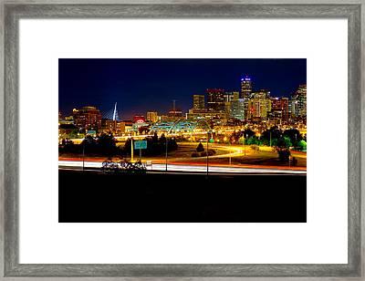 Denver Night Skyline Framed Print by James O Thompson