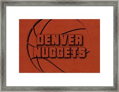 Denver Nuggets Leather Art Framed Print by Joe Hamilton