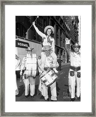 Denver Residents Take Part In A Parade In New York City. 1952 Framed Print by Barney Stein