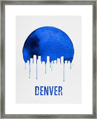 Denver Skyline Blue Framed Print by Naxart Studio