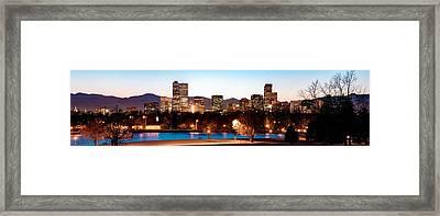Denver Skyline Panorama City Park Framed Print by Gregory Ballos