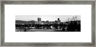 Denver Skyline Panorama From City Park Framed Print by Gregory Ballos
