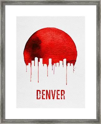 Denver Skyline Red Framed Print by Naxart Studio
