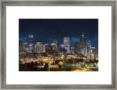 Denver Under A Night Sky Framed Print by Juli Scalzi