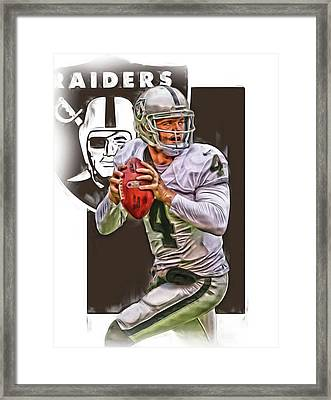Derek Carr Oakland Raiders Oil Art Framed Print by Joe Hamilton