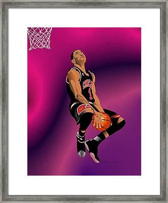 Derrick Rose 3 Framed Print by Walter Oliver Neal