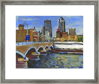 Des Moines Skyline Framed Print by Buffalo Bonker