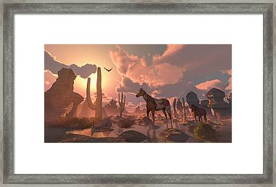 Desert Ponies Framed Print by Mary Almond