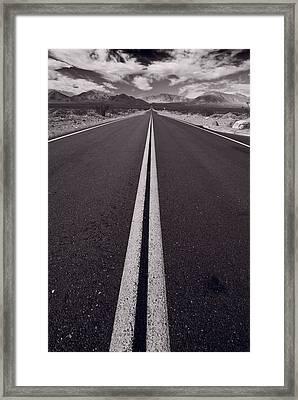 Desert Road Trip B W Framed Print by Steve Gadomski
