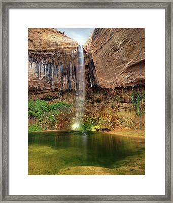 Desert Waterfall Oasis Framed Print by Leland D Howard