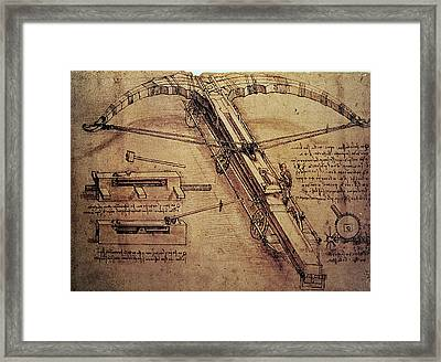 Design For A Giant Crossbow Framed Print by Leonardo Da Vinci