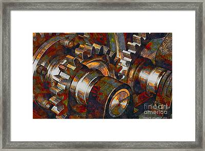 Designer Pumpjack Macro6 - Watercolor - 23032016 Framed Print by Michael Geraghty