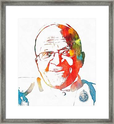 Desmond Tutu Watercolor Framed Print by Dan Sproul