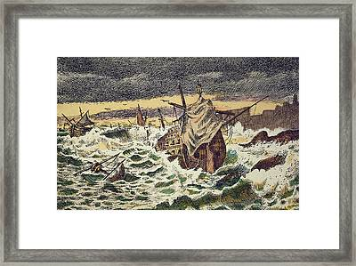 Destruction By Storms Of The Invincible Spanish Armada Framed Print by Spanish School
