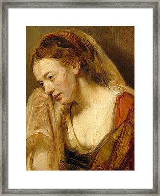 Detail Of A Weeping Woman Framed Print by Rembrandt