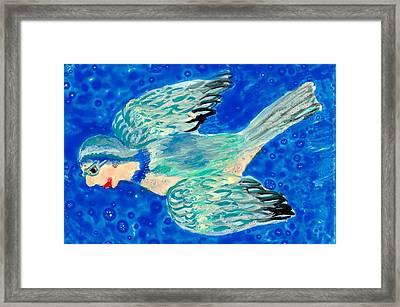 Detail Of Bird People Flying Bluetit Or Chickadee Framed Print by Sushila Burgess