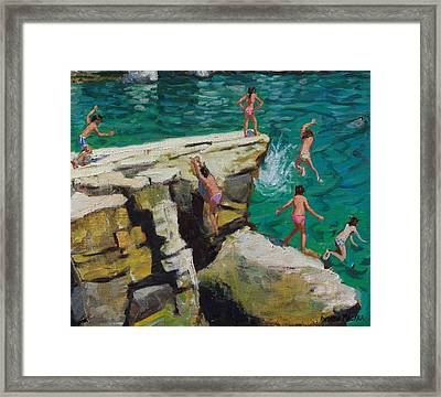 Detail Of Jumping Into The Sea Framed Print by Andrew Macara