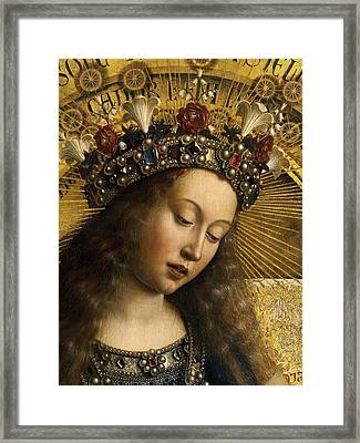 Detail Of The Virgin Mary From The Ghent Altarpiece Framed Print by Van Eyck