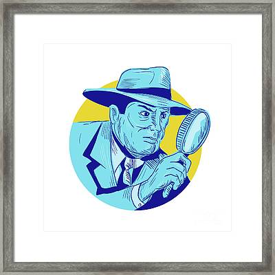 Detective Holding Magnifying Glass Circle Drawing Framed Print by Aloysius Patrimonio