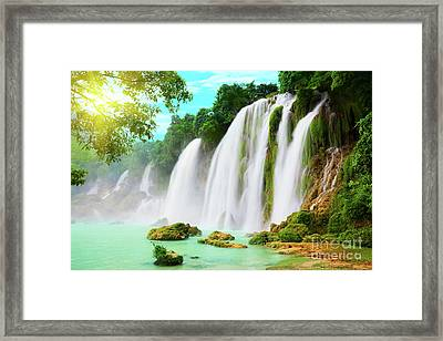 Detian Waterfall Framed Print by MotHaiBaPhoto Prints
