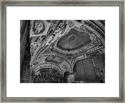 Detroit - Michigan Theatre 001 Bw Framed Print by Lance Vaughn
