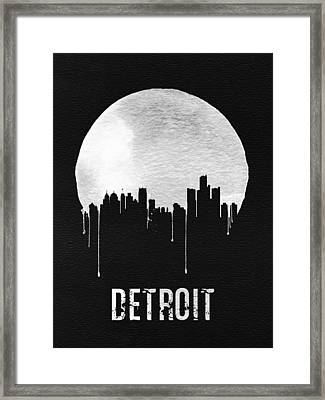 Detroit Skyline Black Framed Print by Naxart Studio