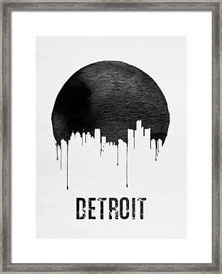 Detroit Skyline White Framed Print by Naxart Studio