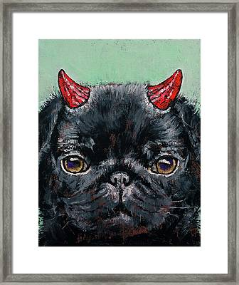 Devil Pug Framed Print by Michael Creese