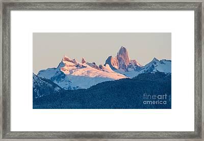 Devils Thumb Alpenglow Framed Print by Mike Reid
