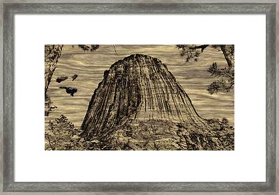 Devils Tower Woodburning Framed Print by John M Bailey