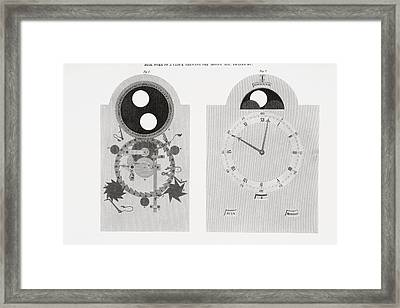 Dial Work Of A Clock Showing Moon S Framed Print by Vintage Design Pics