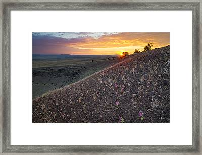 Diamond Craters Sunset Framed Print by Leland D Howard