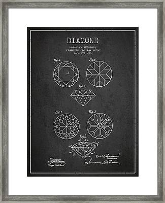 Diamond Patent From 1902 - Charcoal Framed Print by Aged Pixel