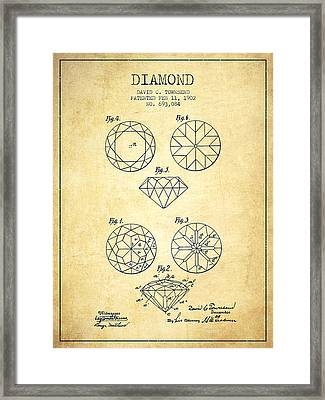 Diamond Patent From 1902 - Vintage Framed Print by Aged Pixel
