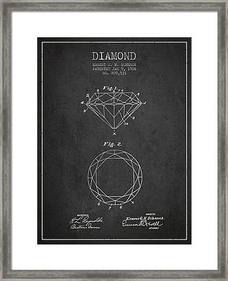 Diamond Patent From 1906 - Charcoal Framed Print by Aged Pixel