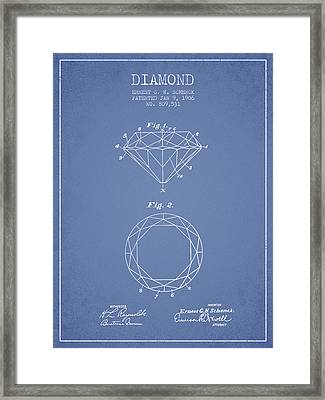 Diamond Patent From 1906 - Light Blue Framed Print by Aged Pixel