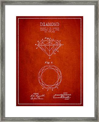 Diamond Patent From 1906 - Red Framed Print by Aged Pixel