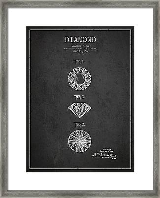 Diamond Patent From 1945 - Charcoal Framed Print by Aged Pixel