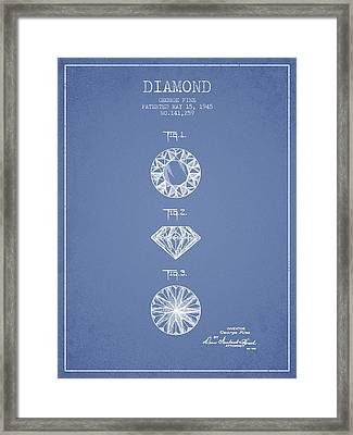 Diamond Patent From 1945 - Light Blue Framed Print by Aged Pixel