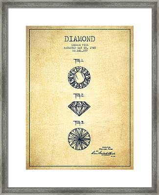 Diamond Patent From 1945 - Vintage Framed Print by Aged Pixel