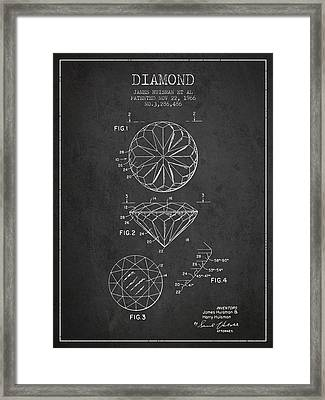 Diamond Patent From 1966- Charcoal Framed Print by Aged Pixel