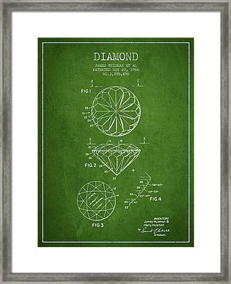 Diamond Patent From 1966- Green Framed Print by Aged Pixel